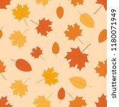 autumn leaves seamless pattern... | Shutterstock .eps vector #1180071949