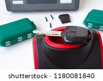 production of automobile keys.... | Shutterstock . vector #1180081840