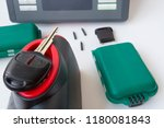 production of automobile keys.... | Shutterstock . vector #1180081843