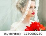 portrait of young bride with... | Shutterstock . vector #1180083280
