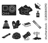 ski resort and equipment black... | Shutterstock .eps vector #1180084090