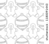 gingerbread. black and white... | Shutterstock .eps vector #1180091443