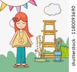 hippie girl cartoon   Shutterstock .eps vector #1180093690