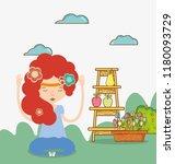 hippie girl cartoon   Shutterstock .eps vector #1180093729