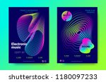 electronic music party posters. ... | Shutterstock .eps vector #1180097233