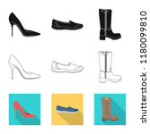 isolated object of footwear and ... | Shutterstock .eps vector #1180099810