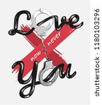 love you slogan with handcuff... | Shutterstock .eps vector #1180103296