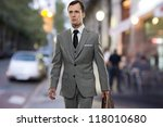 man in classic grey suit with... | Shutterstock . vector #118010680