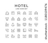 set line icons of hotel... | Shutterstock . vector #1180109476