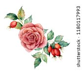 watercolor bouquet with rose... | Shutterstock . vector #1180117993