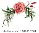 watercolor bouquet with rose... | Shutterstock . vector #1180118773