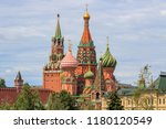 st. basil's cathedral on red... | Shutterstock . vector #1180120549