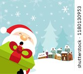 close up view of santa with gift   Shutterstock .eps vector #1180130953