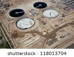 Construction at a waste water treatment facility from above - stock photo