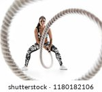 woman doing exercises with... | Shutterstock . vector #1180182106
