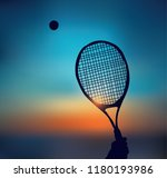 tennis silhouette of hand with... | Shutterstock .eps vector #1180193986