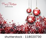 three christmas balls on red... | Shutterstock .eps vector #118020730