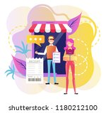 smiling man courier deliver box ... | Shutterstock .eps vector #1180212100