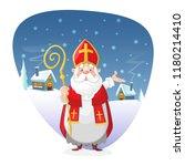 saint nicholas standing in... | Shutterstock .eps vector #1180214410