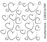 hearts pattern background sketch | Shutterstock .eps vector #1180216789