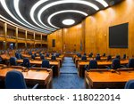 BISMARCK, NORTH DAKOTA - AUGUST 6: House of Representatives chamber in the State Capitol Building on August 6, 2012 in Bismarck, North Dakota - stock photo
