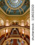 CHEYENNE, WYOMING - JULY 18: Stairs in the Capitol building on July 18, 2012 in Cheyenne, Wyoming - stock photo