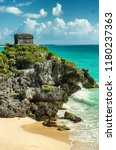 tulum is the site of a pre... | Shutterstock . vector #1180237363