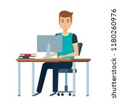 young man at desk with computer | Shutterstock .eps vector #1180260976