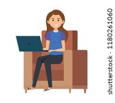 young woman at sofa with laptop | Shutterstock .eps vector #1180261060