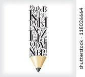 alphabetical pencil | Shutterstock .eps vector #118026664