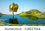 lonely tree by the lake autumn... | Shutterstock . vector #118027066