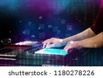 hand mixing music on dj... | Shutterstock . vector #1180278226