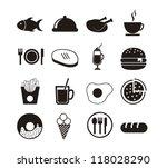 black food icons over white...   Shutterstock .eps vector #118028290