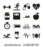 black fitness icons over white... | Shutterstock .eps vector #118028749