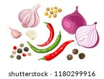 set of spicy spices and... | Shutterstock .eps vector #1180299916