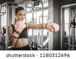 fit beautiful woman boxer...   Shutterstock . vector #1180312696