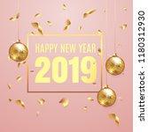 happy new year 2019 elegant... | Shutterstock .eps vector #1180312930