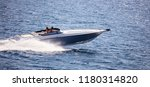 high speed boat goes fast in... | Shutterstock . vector #1180314820