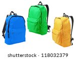three colorful backpacks... | Shutterstock . vector #118032379