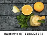 melon smoothies  orange and... | Shutterstock . vector #1180325143