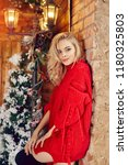 christmas fashion sexy woman...   Shutterstock . vector #1180325803