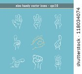 Hands drawn in sketch style with nine different expressions in vector - stock vector