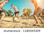 happy young people in active... | Shutterstock . vector #1180345309
