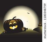happy halloween pumpkins on the ... | Shutterstock .eps vector #1180348759