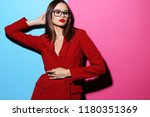 fashion woman in glasses. red... | Shutterstock . vector #1180351369