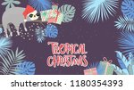 tropical christmas poster with... | Shutterstock .eps vector #1180354393