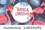 Tropical Christmas Poster With...