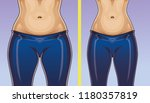 woman's body before and after... | Shutterstock .eps vector #1180357819