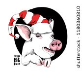 adorable pig in a funny santa's ... | Shutterstock .eps vector #1180360810