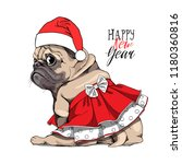 adorable beige puppy pug in a... | Shutterstock .eps vector #1180360816